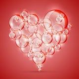 Segno di rosso del sapone della bolla di amore Fotografie Stock Libere da Diritti