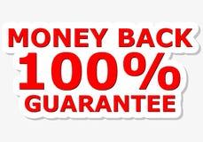 Segno di rosso di garanzia della parte posteriore 100% dei soldi Immagine Stock