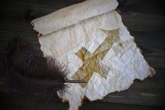 Segno di Sagittario dello zodiaco su carta d'annata con la vecchia penna sullo scrittorio di legno Immagini Stock Libere da Diritti