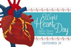 Segno di saluto e del cardiogramma per la celebrazione di giorno del cuore del mondo, illustrazione di vettore Fotografia Stock Libera da Diritti