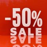Segno di sconto delle percentuali, vendita fino ad un massimo di 50 Fotografia Stock