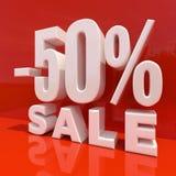 Segno di sconto delle percentuali, vendita fino ad un massimo di 50 Immagini Stock