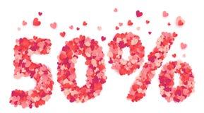 segno di sconto di giorno di 50 biglietti di S. Valentino di per cento fatto dai coriandoli rosa e rossi di forma del cuore royalty illustrazione gratis