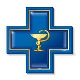 Segno di servizi sanitari, simbolo Simbolo del serpente della medicina, incrocio Fotografie Stock Libere da Diritti