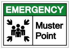 Segno di simbolo del punto di adunata di emergenza, illustrazione di vettore, isolata sull'etichetta bianca del fondo EPS10 illustrazione di stock