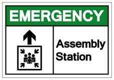 Segno di simbolo della stazione dell'Assemblea di emergenza, illustrazione di vettore, isolato sull'etichetta bianca del fondo EP royalty illustrazione gratis