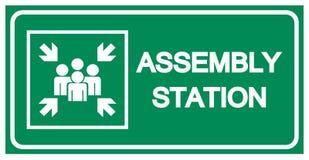 Segno di simbolo della stazione dell'Assemblea, illustrazione di vettore, isolata sull'etichetta bianca del fondo EPS10 illustrazione di stock