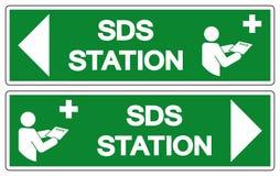 Segno di simbolo della stazione di SDS, illustrazione di vettore, isolato sull'etichetta bianca del fondo EPS10 illustrazione vettoriale