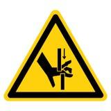 Segno di simbolo delle parti mobili di schiacciamento della mano, illustrazione di vettore, isolato sull'etichetta bianca del fon illustrazione di stock