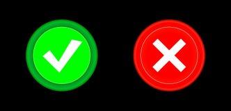 Segno di spunta, bottone rosso dell'icona trasversale e verde stabilito del cerchio 3D Aggiunga, annulli, o il più ed i segni men Fotografia Stock Libera da Diritti