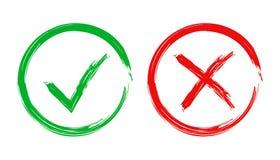 Segno di spunta dei segni di spunta ed icona dell'incrocio Illustrazione di vettore sulle sedere bianche Fotografia Stock Libera da Diritti