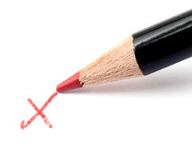 Segno di spunta della matita Immagini Stock Libere da Diritti