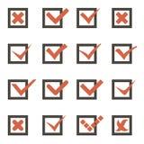 Segno di spunta di simboli dei segni di spunta e vettore delle icone dell'incrocio Immagini Stock Libere da Diritti