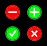 Segno di spunta, incrocio, più, meno il bottone rosso dell'icona e verde stabilito del cerchio 3D Aggiunga, annulli, o il più ed  Immagine Stock