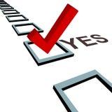 Segno di spunta per votare sì elezione di scrutinio della casella 3D Fotografie Stock Libere da Diritti