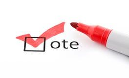 Segno di spunta rosso sulla casella di controllo di voto Fotografia Stock Libera da Diritti