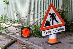 Segno di taglio dell'albero horisontal Fotografie Stock Libere da Diritti