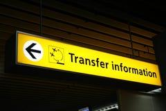 Segno di trasferimento di aeroporto Fotografia Stock Libera da Diritti