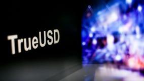Segno di TrueUSD Cryptocurrency comportamento degli scambi di cryptocurrency, concetto Tecnologie finanziarie moderne royalty illustrazione gratis