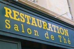 Segno di un negozio francese del tè Fotografie Stock