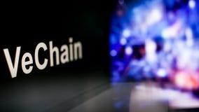 Segno di VeChain Cryptocurrency comportamento degli scambi di cryptocurrency, concetto Tecnologie finanziarie moderne royalty illustrazione gratis