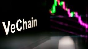 Segno di VeChain Cryptocurrency Il comportamento degli scambi di cryptocurrency, concetto Tecnologie finanziarie moderne illustrazione vettoriale