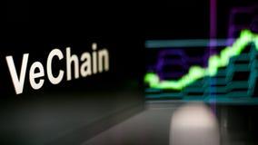 Segno di VeChain Cryptocurrency Il comportamento degli scambi di cryptocurrency, concetto Tecnologie finanziarie moderne illustrazione di stock