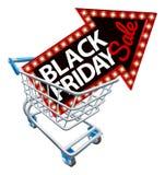 Segno di vendita di Black Friday del carrello di acquisto Immagine Stock