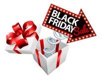 Segno di vendita di Black Friday della molla del materasso Fotografia Stock Libera da Diritti