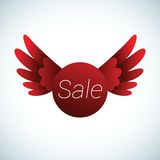 Segno di vendita con le ali rosse Fotografia Stock