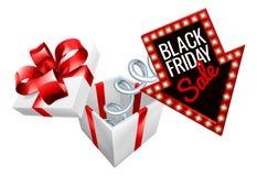 Segno di vendita della molla del materasso di Black Friday Fotografia Stock
