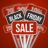 Segno di vendita di Black Friday con Black Friday Vect vago sconto Illustrazione di Stock