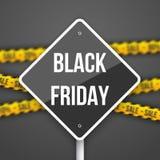 Segno di vendita di Black Friday con Black Friday Vect vago sconto Illustrazione Vettoriale