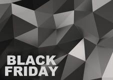 Segno di vendita di Black Friday su basso poli fondo illustrazione 3D Fotografia Stock