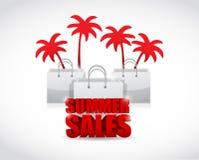 Segno di vendita di estate e progettazione dell'illustrazione delle borse Fotografia Stock Libera da Diritti