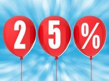 segno di vendita di 25% sui palloni rossi Fotografia Stock Libera da Diritti