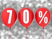 segno di vendita di 70% sui palloni rossi Immagine Stock Libera da Diritti