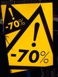 Segno di vendita 70 per cento fuori dal prezzo Immagine Stock Libera da Diritti
