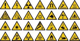 Segno di vettore del segnale di pericolo - insieme del segnale di pericolo di giallo del triangolo Immagini Stock