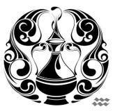 Segno di vettore dello zodiaco del Aquarius. Disegno del tatuaggio Fotografia Stock