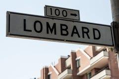 Segno di via del Lombard Immagini Stock