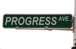 Segno di via del viale di progresso Fotografia Stock