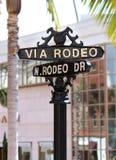 Segno di via dell'azionamento del rodeo Beverly Hills Fotografia Stock Libera da Diritti