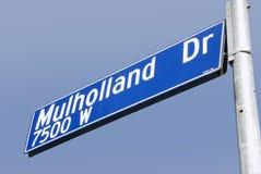 Segno di via dell'azionamento di Mulholland Immagine Stock