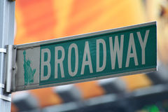 Segno di via di New York Broadway Fotografia Stock