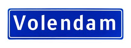 Segno di Volendam, Paesi Bassi di limite di città fotografia stock