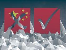 Segno di voto della Cina su poli surfafe basso Fotografie Stock