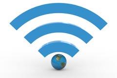 segno di wifi 3D con il globo della terra. Alto segnale. Fotografie Stock