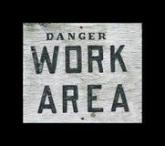 Segno di zona di lavoro del pericolo Fotografia Stock Libera da Diritti