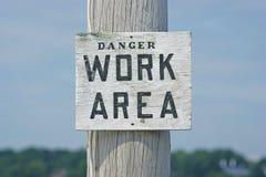 Segno di zona di lavoro del pericolo Fotografia Stock